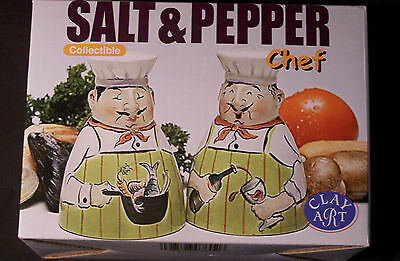 CHEF PIERRE SALT and PEPPER  CLAY ART  RETIRED  CLOSEOUT -  MUST SELL