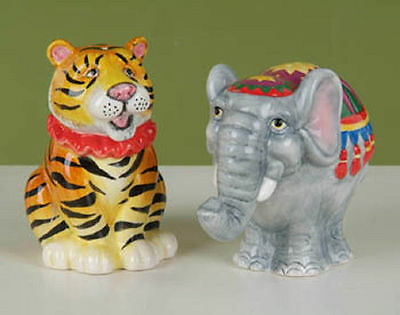CIRCUS TIGER & ELEPHANT Salt & Pepper Set  -  MINT in BOX   CLOSEOUT