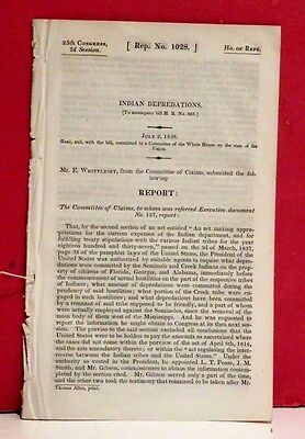 House of Representatives Report on Indian Depredations-Seminole/Creeks - 1838