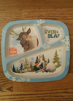 Disney Frozen Sven and Olaf Plastic Plate 3 Sections Childrens Dinnerware by Zak