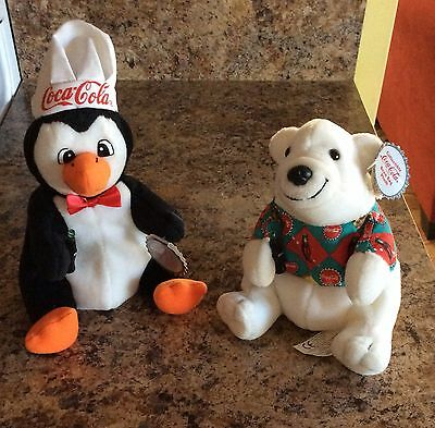 Vintage Coca Cola Penguin And Polar Bear Bean Bag Plush Toys Excellent Condition