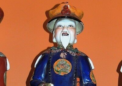 "Antique Chinese Porcelain 22"" Large Emperor Statue famille rose stamped/marked"