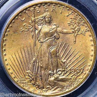1907 St. Gaudens $20 Gold Double Eagle PCGS Graded MS 64 Old Green Holder OGH