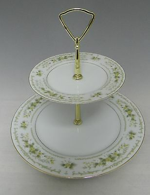 Vintage 2 Tiered Cake Stand WAVERLY #3901 by FINE CHINA Japan Floral Green