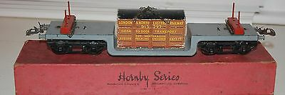 HORNBY SERIES O GAUGE No 2 TROLLEY WAGON GREY LIVERY BOXED WITH CONTAINER