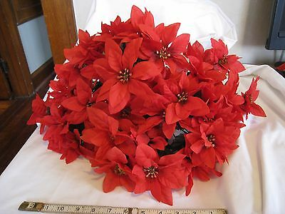 Red Silk Poinsettias 8 Bushes with 7 Stems Each Artificial Flower Large Lot