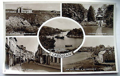 Real Photo Multi view PC Cardigan incl High St, Cliff Hotel etc G137