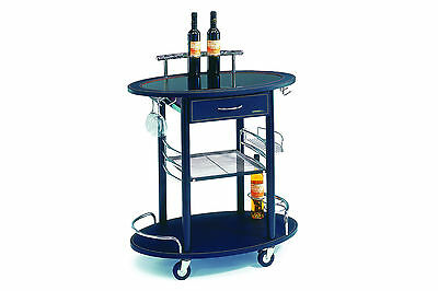 Black Glass Serving Trolley, 3 Tier, Wine Trolley/ Bar Trolley, Kitchen Cart