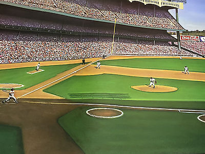 1956 Ws Yankee Classic Mickey Mantle Hr - Limited Ed. Fine Art Litho /600 16X36