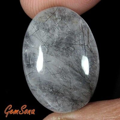 22 Cts. NATURAL BLACK RUTILE QUARTZ OVAL CABCOHON LOOSE GEMSTONE -RTQ