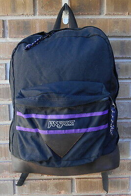 JANSPORT BACKPACK -  Leather Bottom - Vintage -  BLACK USA -  Pack Day Book Bag