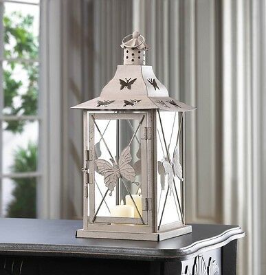 Butterfly Candle Lantern Indoor Outdoor Decor Iron and Glass Weathered Look