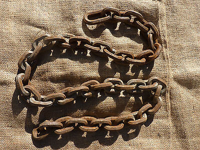 "Approx 57"" Rusty Old Farm Chain Primitive with inscription CYCLOPS"