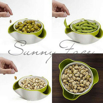 New 2 In 1 Fruit Candy Snack Nut Compote Holder Dish Tray Home Kitchen UR タ