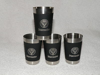 """Set of 4 Stainless Jagermeister Shot Glasses 2 1/2"""" Tall Good Condition"""