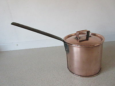 """Vintage 5"""" Copper Deep Saucepan With Lid Tin Lined Vgc"""