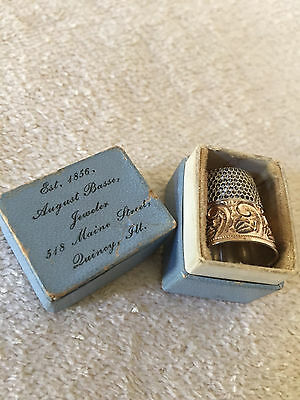 Thimble Case Sterling Silver Thimble, Quincy, Ill.
