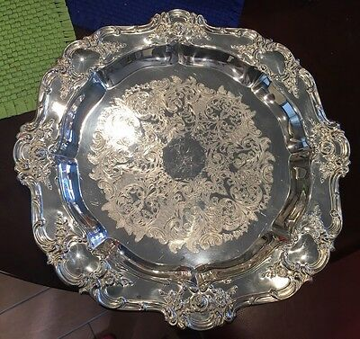 """Gorgeous Large Towle Silver Plate Old Master 15"""" Round Tray Platter Nice!"""
