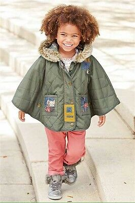 Next Girls Age 3-4 Years Khaki Cape Jacket Brand New With Tags RRP £32