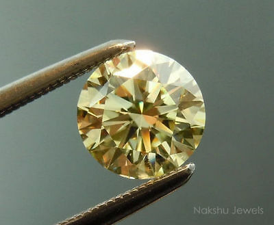 3.44 ct 10.15 mm VS1 Golden Yellow Color Round Cut Loose Moissanite US SELLER