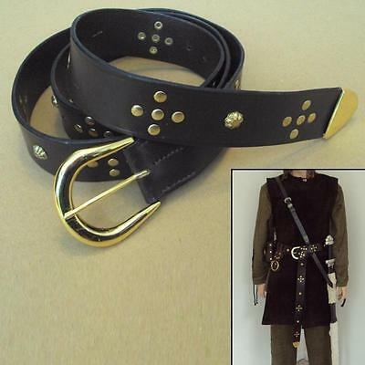 Medieval Brown Leather Long Belt & Brass Decoration Wide Tunic / Tabard Belt