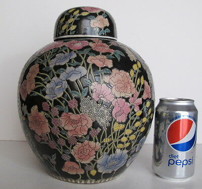 "Large Vintage Asian Chinese Famille Noire Ginger Jar Floral Motif. 10"" tall"