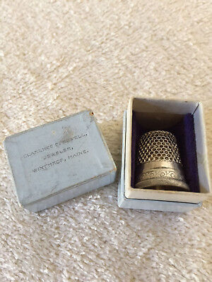 Thimble Case, Sterling Silver Thimble, Winthrop, Maine Box