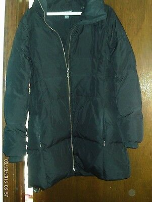 Pea in the Pod Black Maternity Jacket Down Winter Coat Small LG