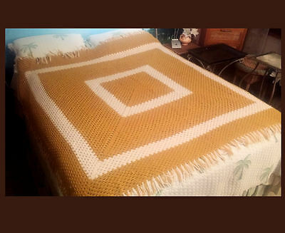 "Hand Crochet Afghan Blanket ~ TAN  & WHITE Square w/Fringe 66"" x 66"" + Zip Bag"