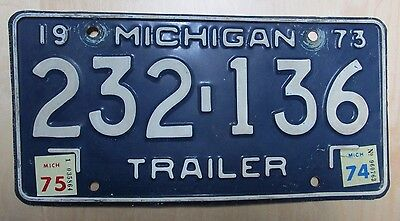 Vintage 1973 Michigan Trailer License Plate with 1975 Tags Tabs - 232136