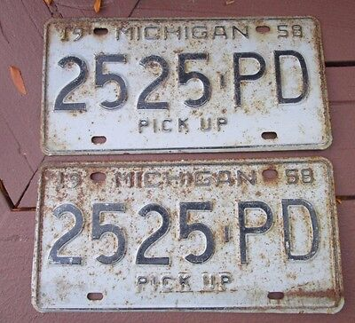 2 Vintage 1958 Michigan Pick Up License Plate Plates Pair - 2525PD