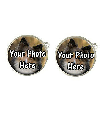 Your Own Dog Personalised Photo Picture Mens Cufflinks Fathers Dad Birthday Gift