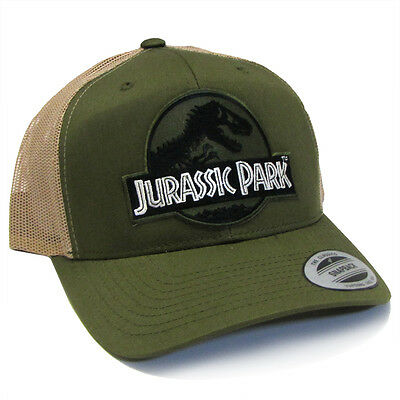Jurassic Park Movie Forest Green Logo Patch Retro Trucker Moss Khaki Cap Hat 6868d6de022e