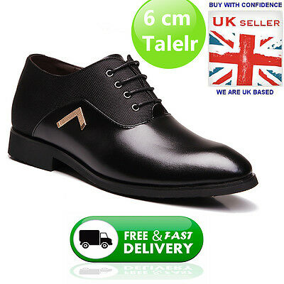 MSCL - Black-Brown - Leather Shoes Invisible Height Increasing Shoes 6cm Taller