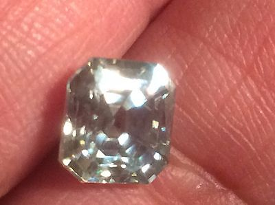 1.96 ct VS1 WHITE  BLUEISH COLOR ASSCHER CUT LOOSE REAL MOISSANITE US SELLER