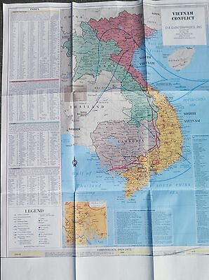 """Military Vietnam War Conflict Wall Map LARGE 28x35"""" all of SEA  -  5 color*.*"""