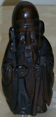 Vintage Heavy Carved Wood Statue of Chinese Scholar-Teacher