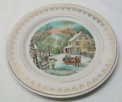 Winter Plate Horse Sleigh House Trees Winter Scene Currier and Ives Vintage