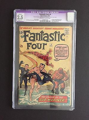 Fantastic Four #4 CGC 2.5 Restored OW/W 1st Silver Age Namor The Sub-mariner
