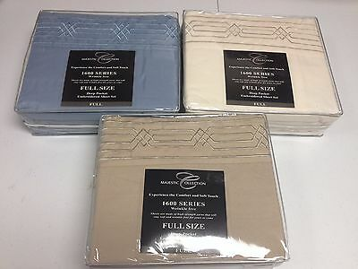 3 Full Majestic Collection 4 Pcs Embroidered Bed Sheet Set Wrinkle Free 1600 New