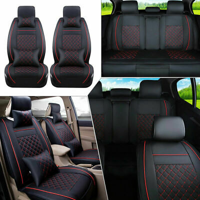 Universal 5-Seats Car Seat Cover Cushion Front Rear W/Neck Lumbar Pillow Size M