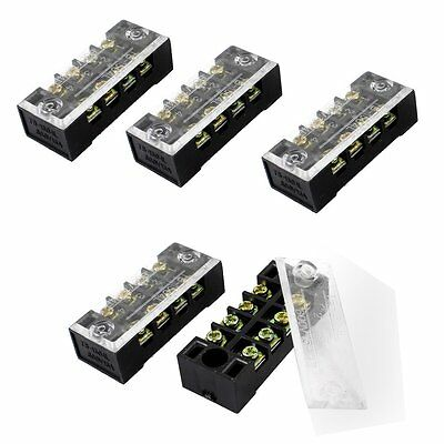 5 Pcs Dual Row 4 Position Covered Screw Terminal Block Strip 600V 15A LW