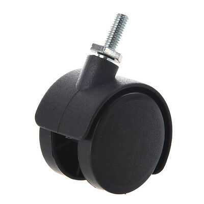 6mm Threaded Stem 40mm Dual Wheel Rotatable Caster Black LW