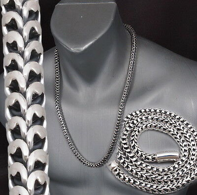 """234g 24"""" HUGE HEAVY ARTISAN DRAGON SCALE MENS NECKLACE CHAIN 925 STERLING SILVER"""