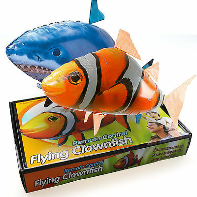 UK Remote Control RC Inflatable Balloon Air Swimmer Flying Nemo Shark Blimp Toy