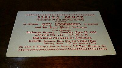 Guy Lombardo Promotional Advertising Ticket Rochester 1938 Spring Dance