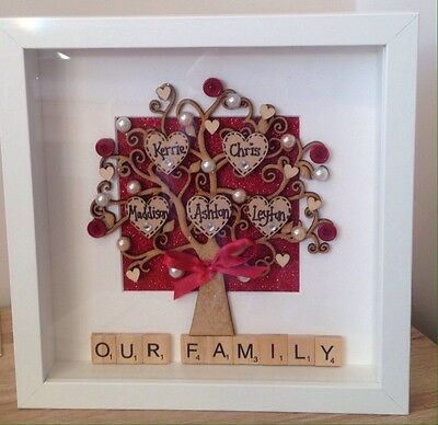 Personalised Family Tree scrabble frame Christmas keepsake new home Birthday