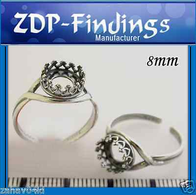 6pcs X Quality Cast 8mm bezel cup Setting Rings Antique Silver Plated -(8680ASP)