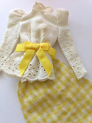 BARBIE Vintage-Outfit 1973 * #3205 * WHITE EYELET and YELLOW GINGHAM *