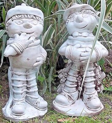 Stone Pair Of Flower Pot Men Statues Sculpture Ornaments Garden, Patio & Home